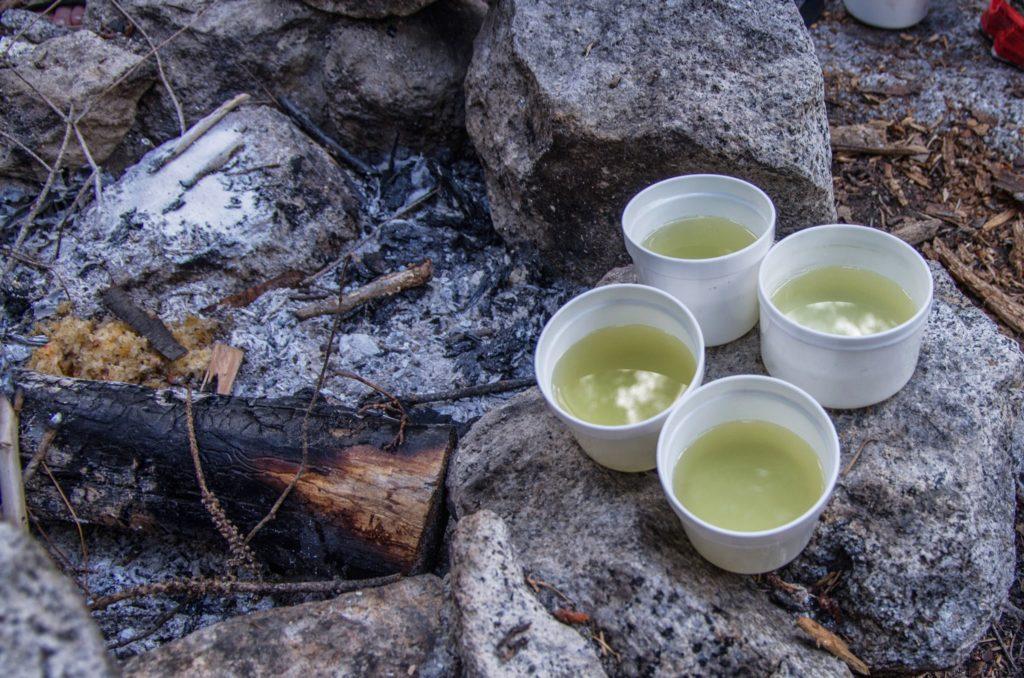 four cups of tea.
