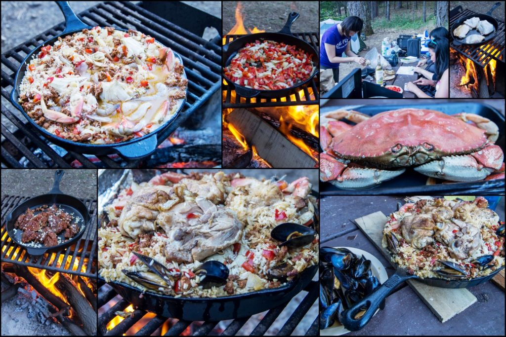paella on the campfire