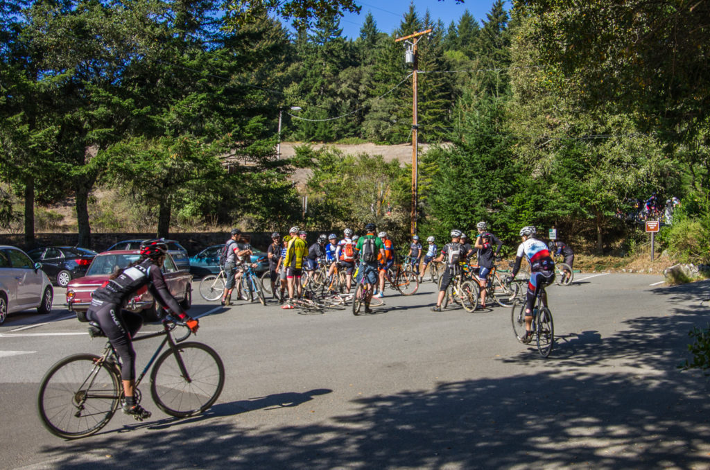 lots of bikers near the ranger station