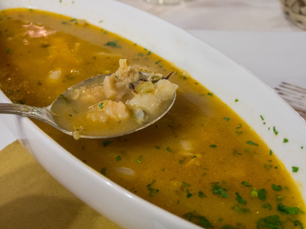 fish soup. good seafood in Burano.