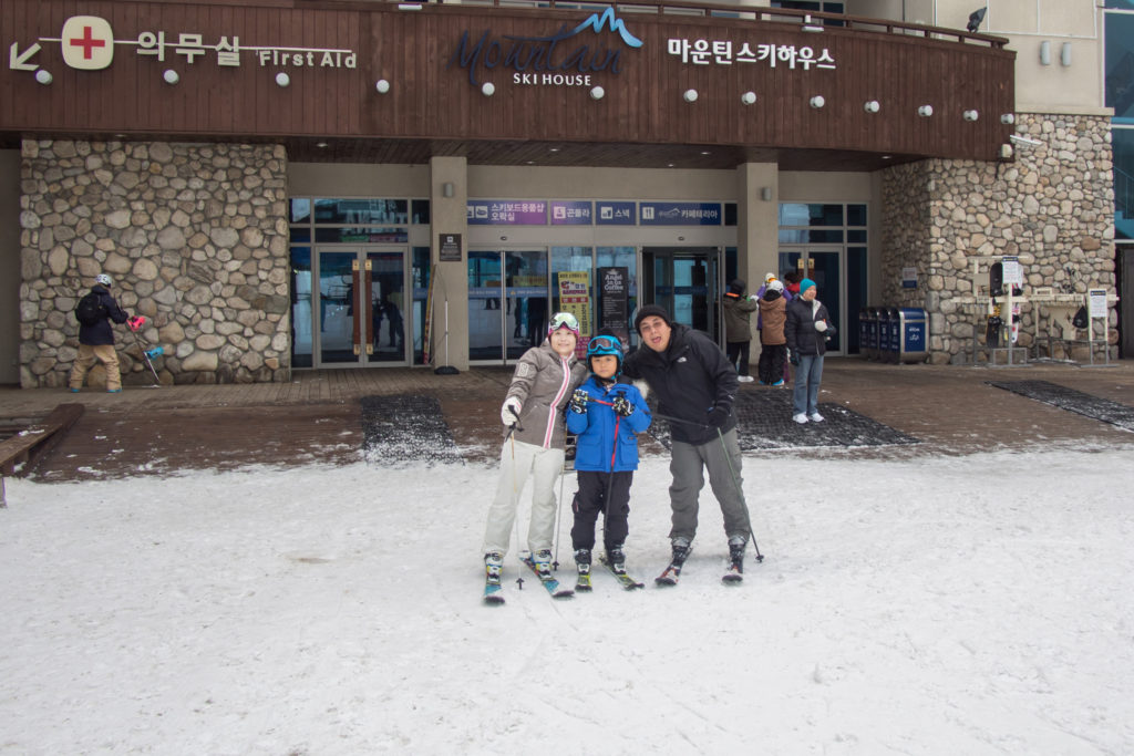 skiing with the cousin and nephew at high1 in Kangwon