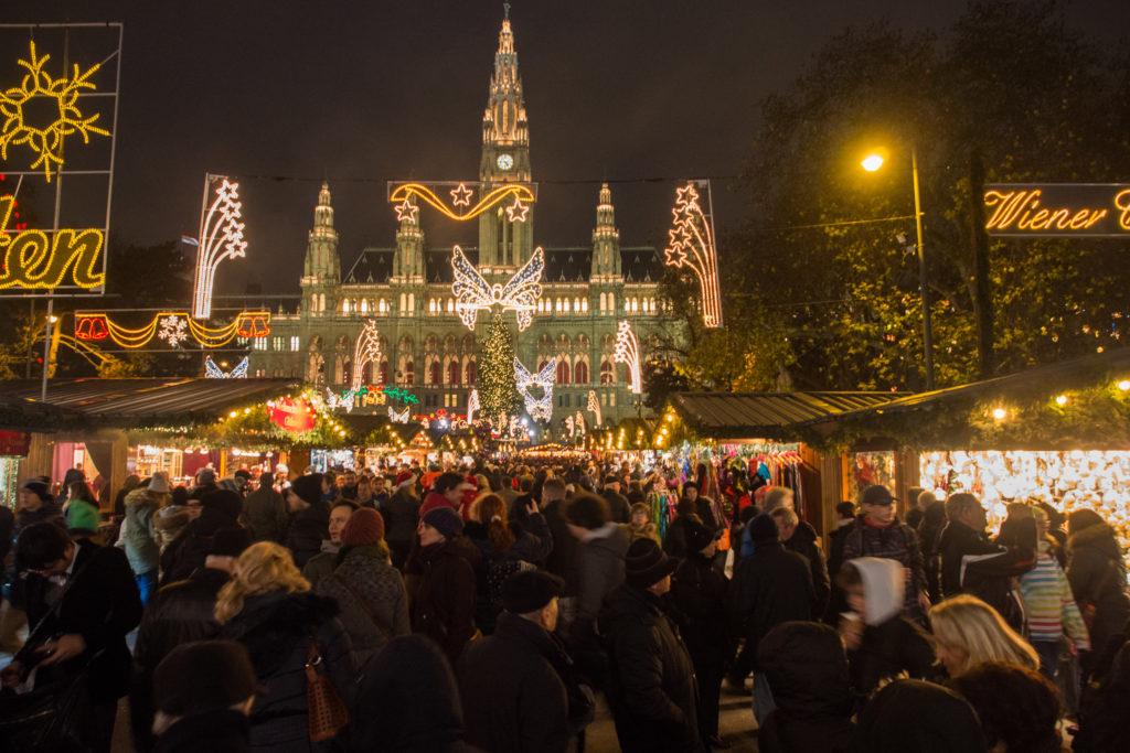 the christmas market at city hall