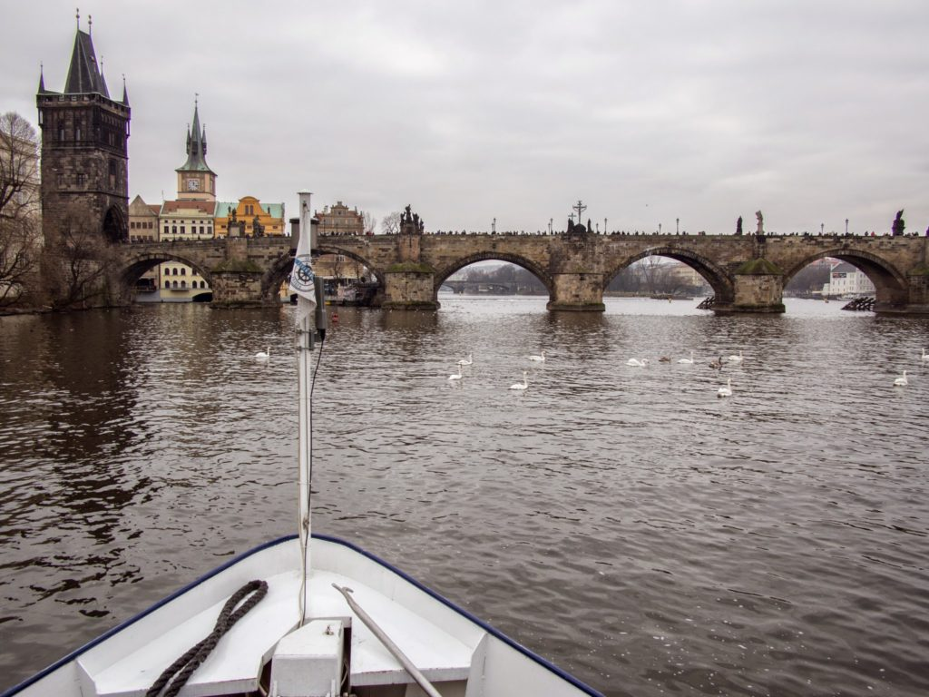 the charles bridge from our boat