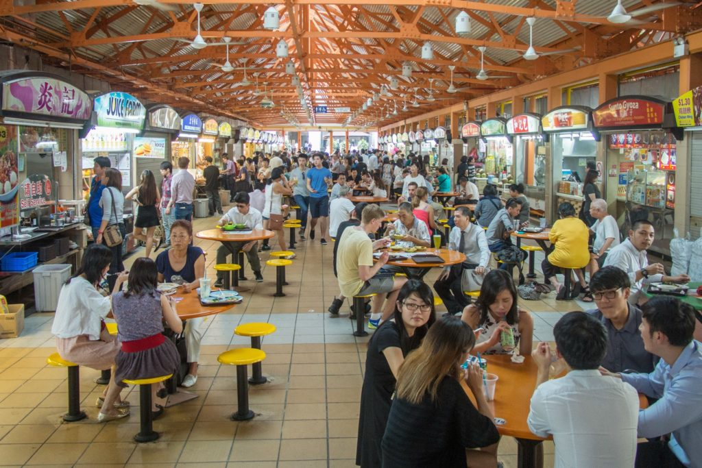 maxwell center. first singapore hawker center experience.