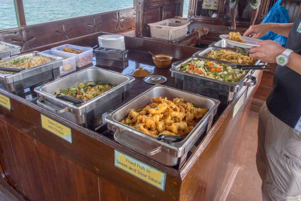 thai buffet on a junk boat