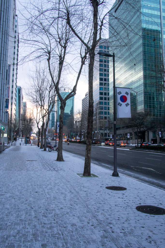 it was cold and snowy most of my time in seoul